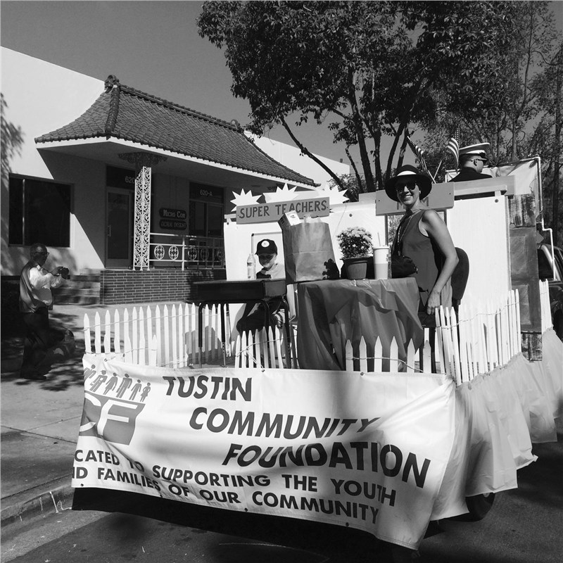 Tustin Community Foundation's Tustin Tiller Days parade float at Alex Moving and Storage