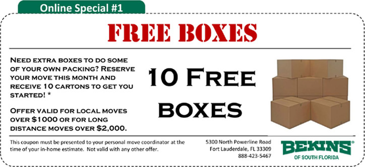 Online Moving Specials!
