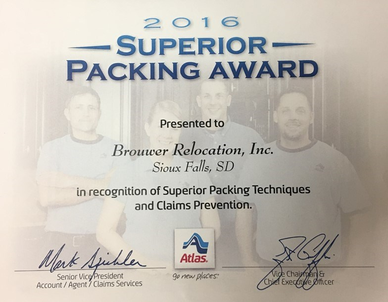 Brouwer Relocation Receives the Superior Packing Award