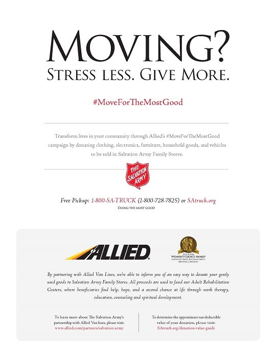 The Salvation Army and Allied Van Lines Partner to Celebrate National Moving Month
