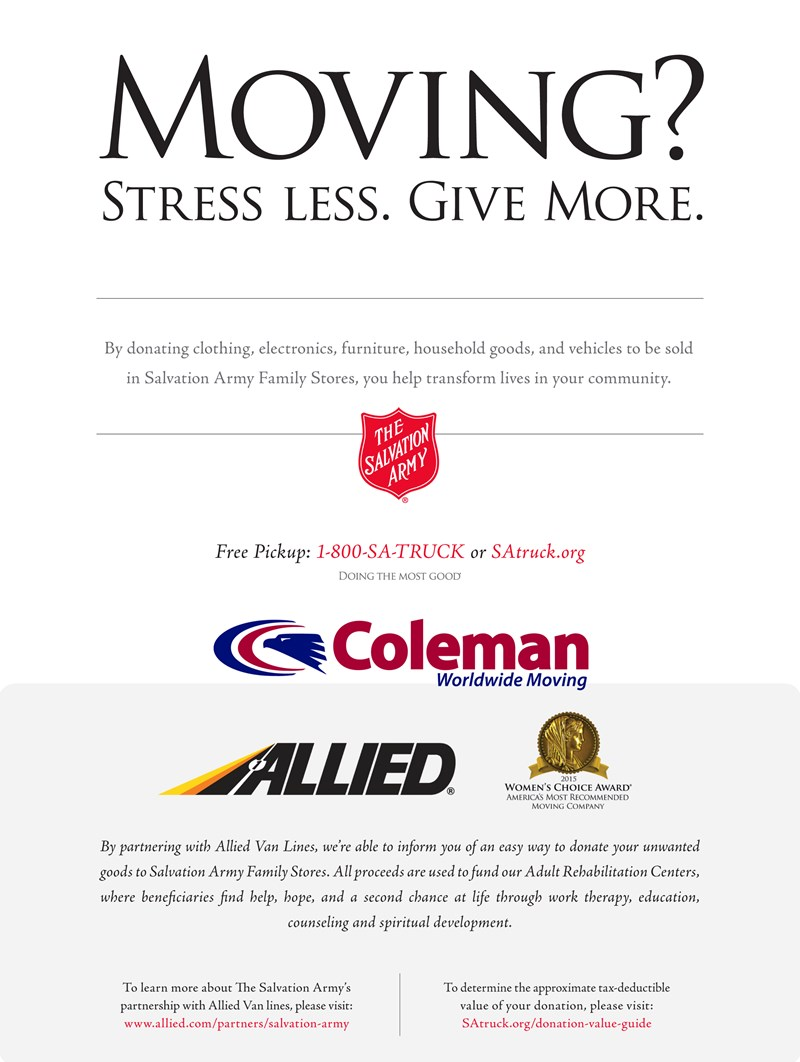 Allied Van Lines Announces Exclusive Charity Partnership with The Salvation Army