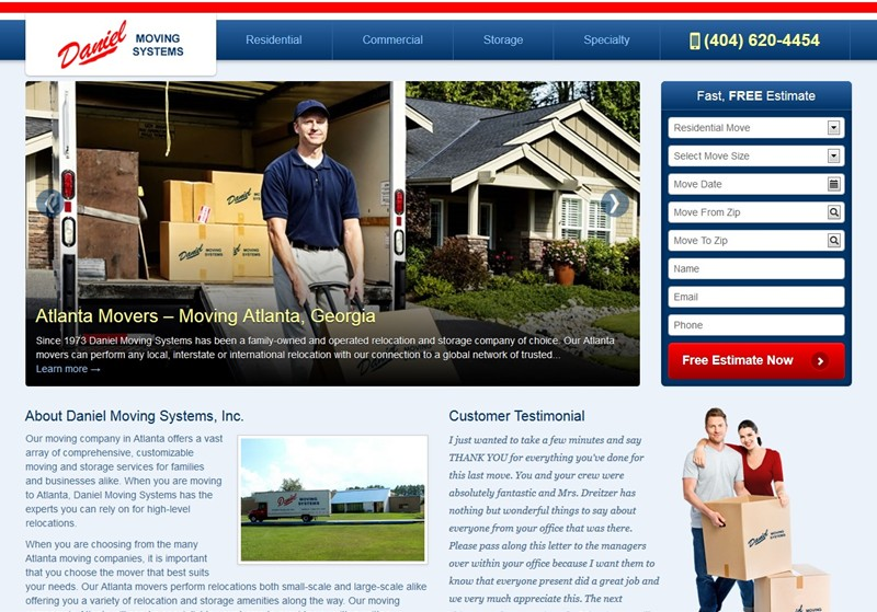 Atlanta Moving Company, Daniel Moving Systems Launches New Website!