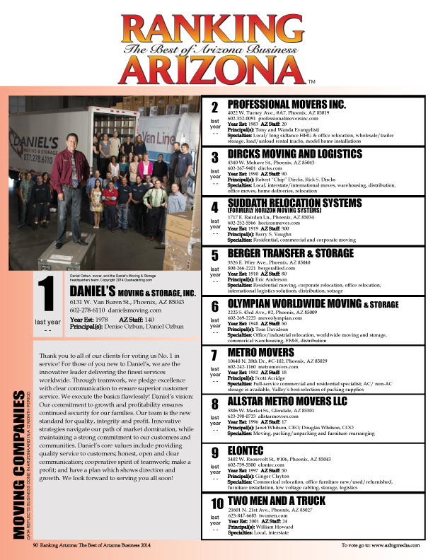 Daniel's Moving & Storage, Inc. is the Number 1 Mover in Arizona