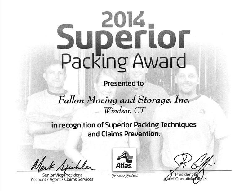 Fallon Moving Wins 2014 Superior Packing Award!