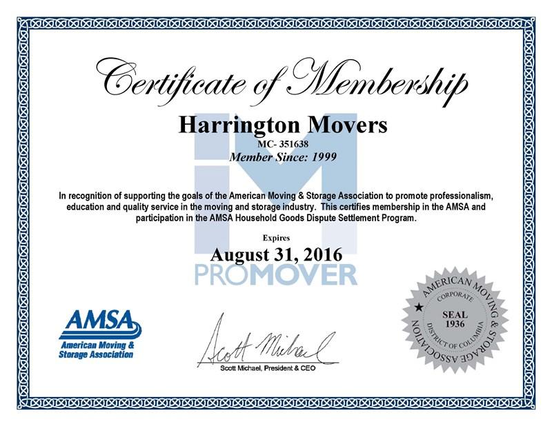 Harrington Movers - A ProMover Since 1999