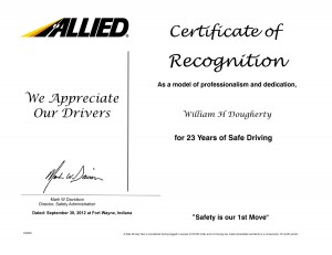 Congrats Billy, for 23 years of Safe Driving!!