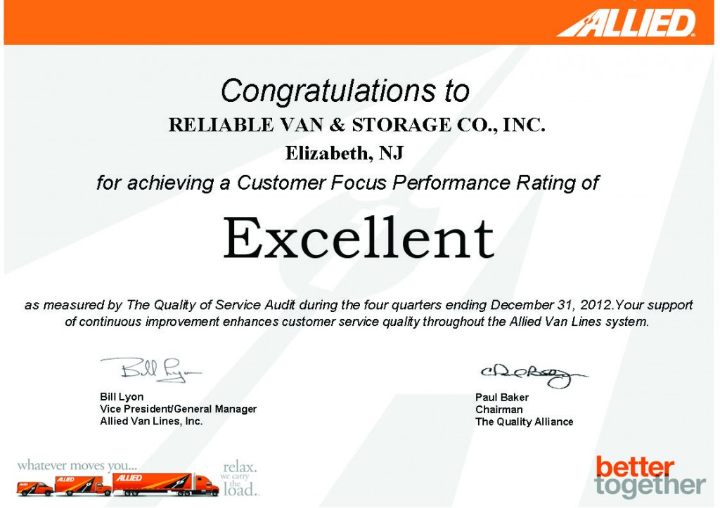 """Reliable receives """"EXCELLENT"""" quality rating scores!"""