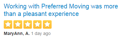 moving and storage review of Preferred Moving & Storage