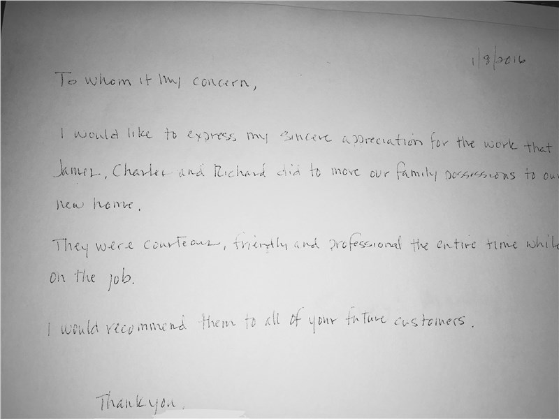 Hand Written Thank You Note From Customer