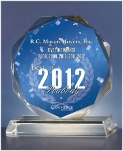 2012 Best of Peabody Award in Moving Services