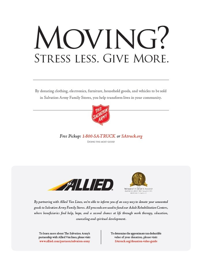 Allied Van Lines is an Exclusive Charity Partner of The Salvation Army!