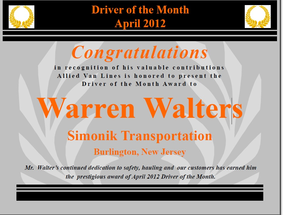 Simonik Honors Warren Walters with April 2012 Driver of the Month!
