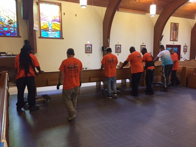 Simonik Moving & Storage Handles St. Leo the Great Parish Pews