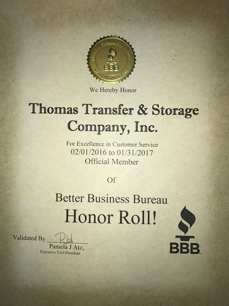 Thomas Transfer & Storage Makes BBB Honor Role for Customer Service