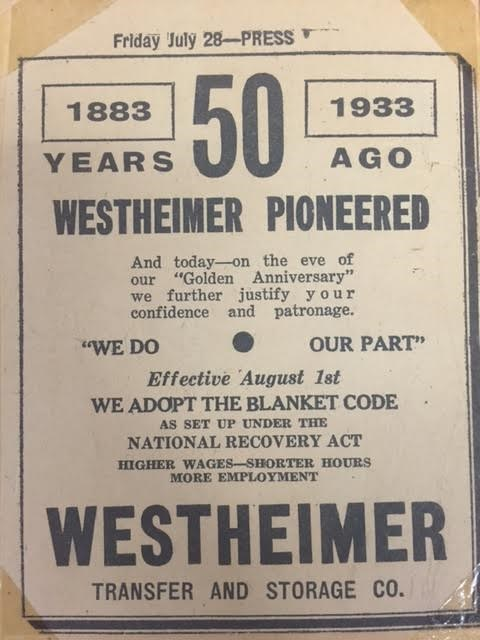 TBT: Westheimer Transfer's 50th Anniversary and the Great Depression