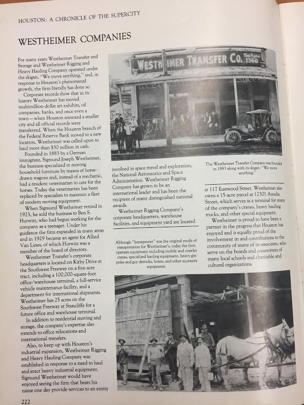TBT: History of Westheimer Transfer and Storage