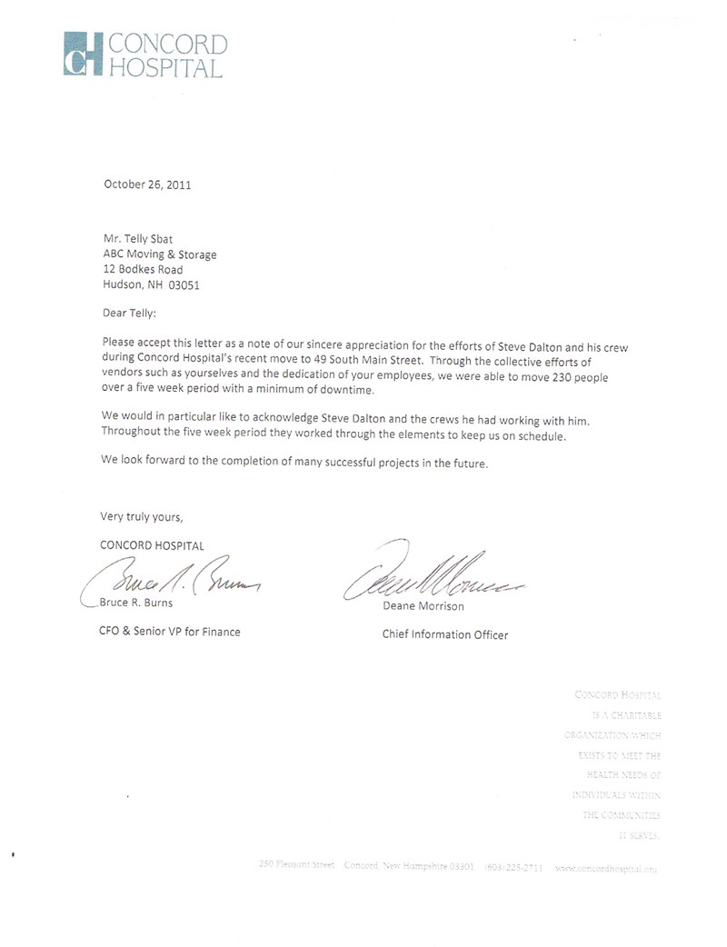 ABC Moving Receives Customer Appreciation Letter from Concord Hospital Move