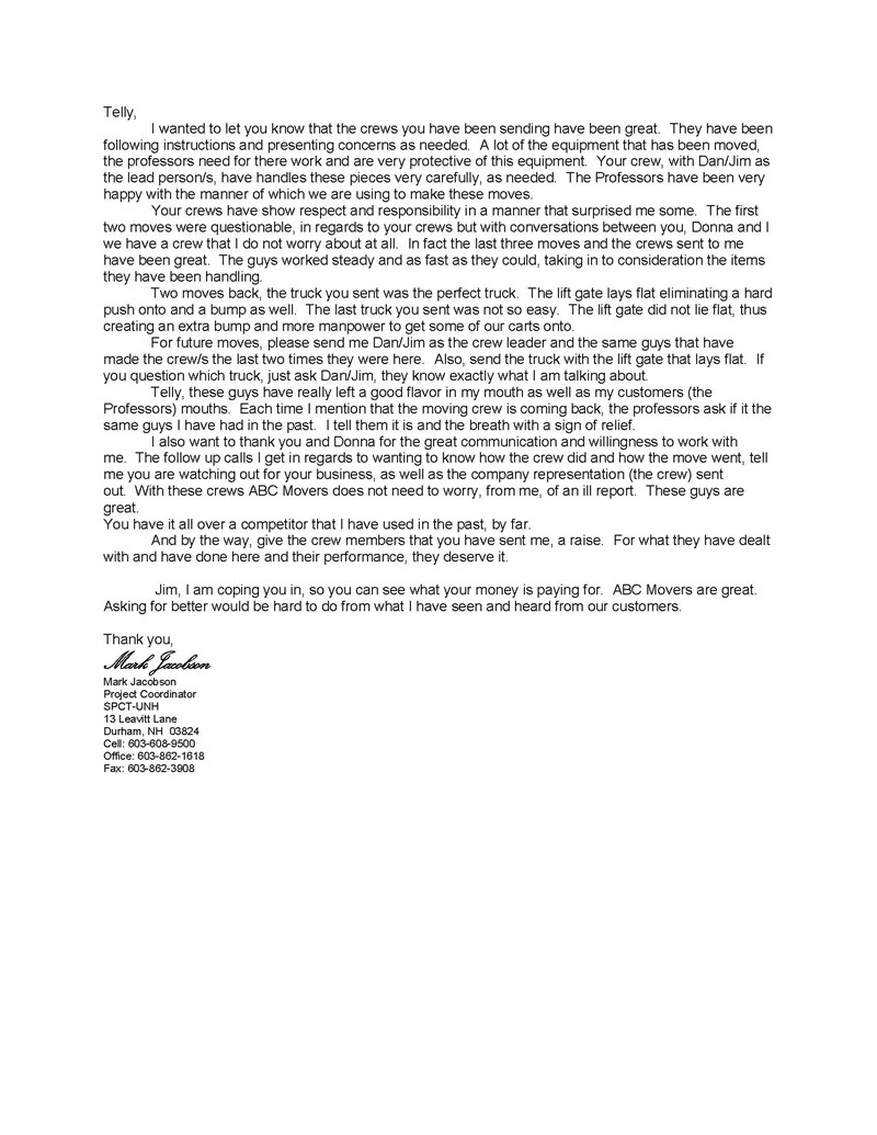 ABC Moving Customer Appreciation Letter from University of NH