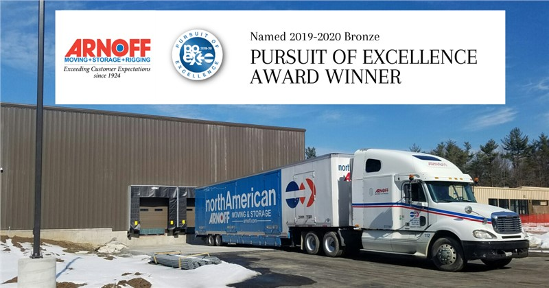 ARNOFF MOVING & STORAGE NAMED NORTH AMERICAN VAN LINES PURSUIT OF EXCELLENCE WINNER