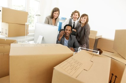 employees ready for an office move