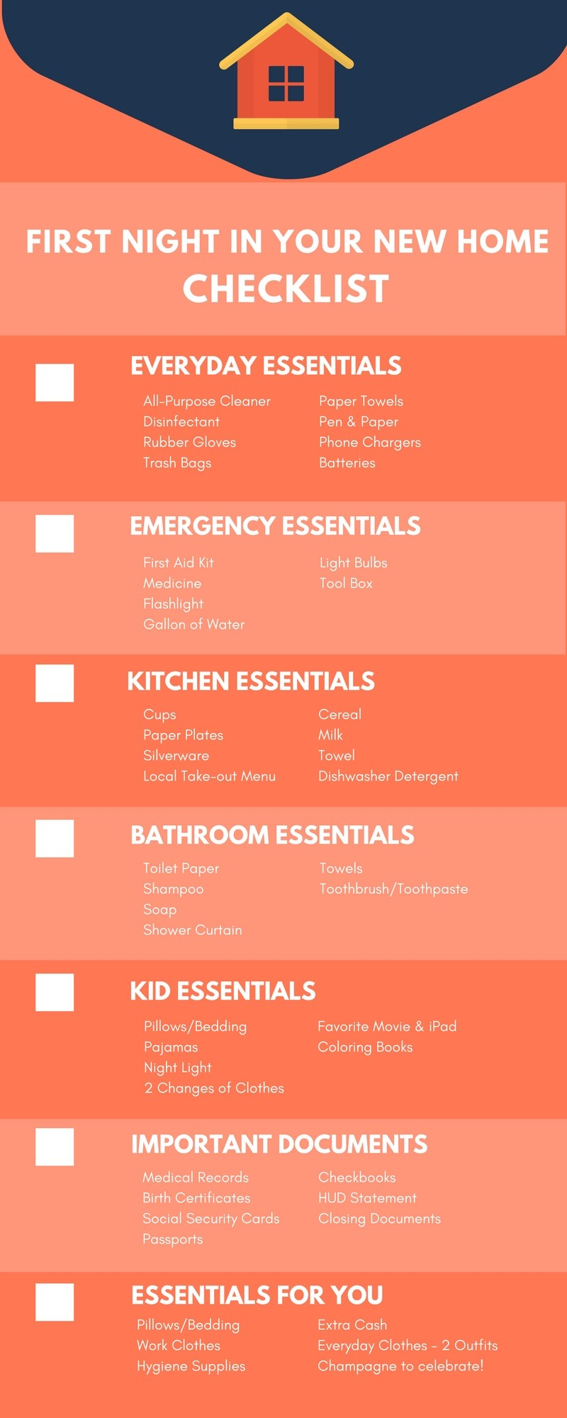 A Checklist for a Successful First Night in Your New Home