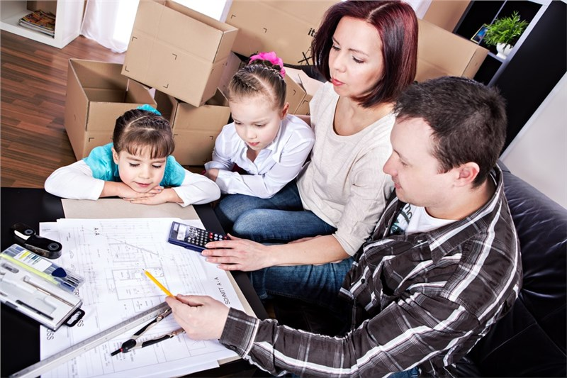 family creating a moving budget