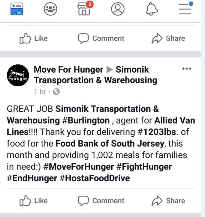 Thank You Customers and Thank You Move For Hunger