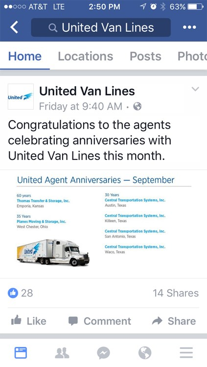 Thomas Transfer & Storage Recognized for 60 Year Anniversary with United Van Lines