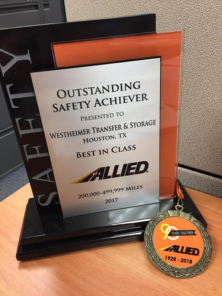 Westheimer Transfer Wins Safety Awarded